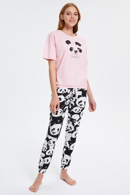 Bross - Pyjama-Set für Damen mit halben Ärmeln und Panda-Muster