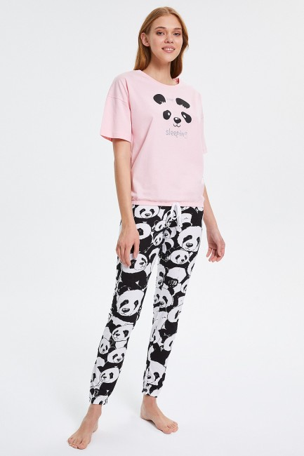 Bross - Panda Patterned Half-Sleeved Women's Pyjama Set