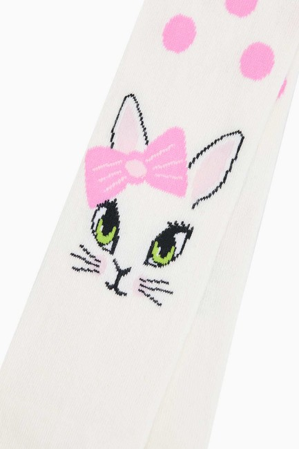 Pointy Cat Pattern Kids Tights - Thumbnail