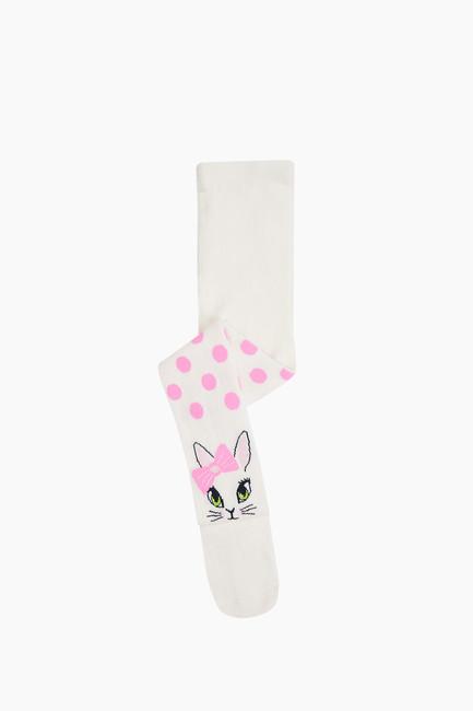 Bross - Puanlı Kedi Desenli Çocuk Külotlu Çorap