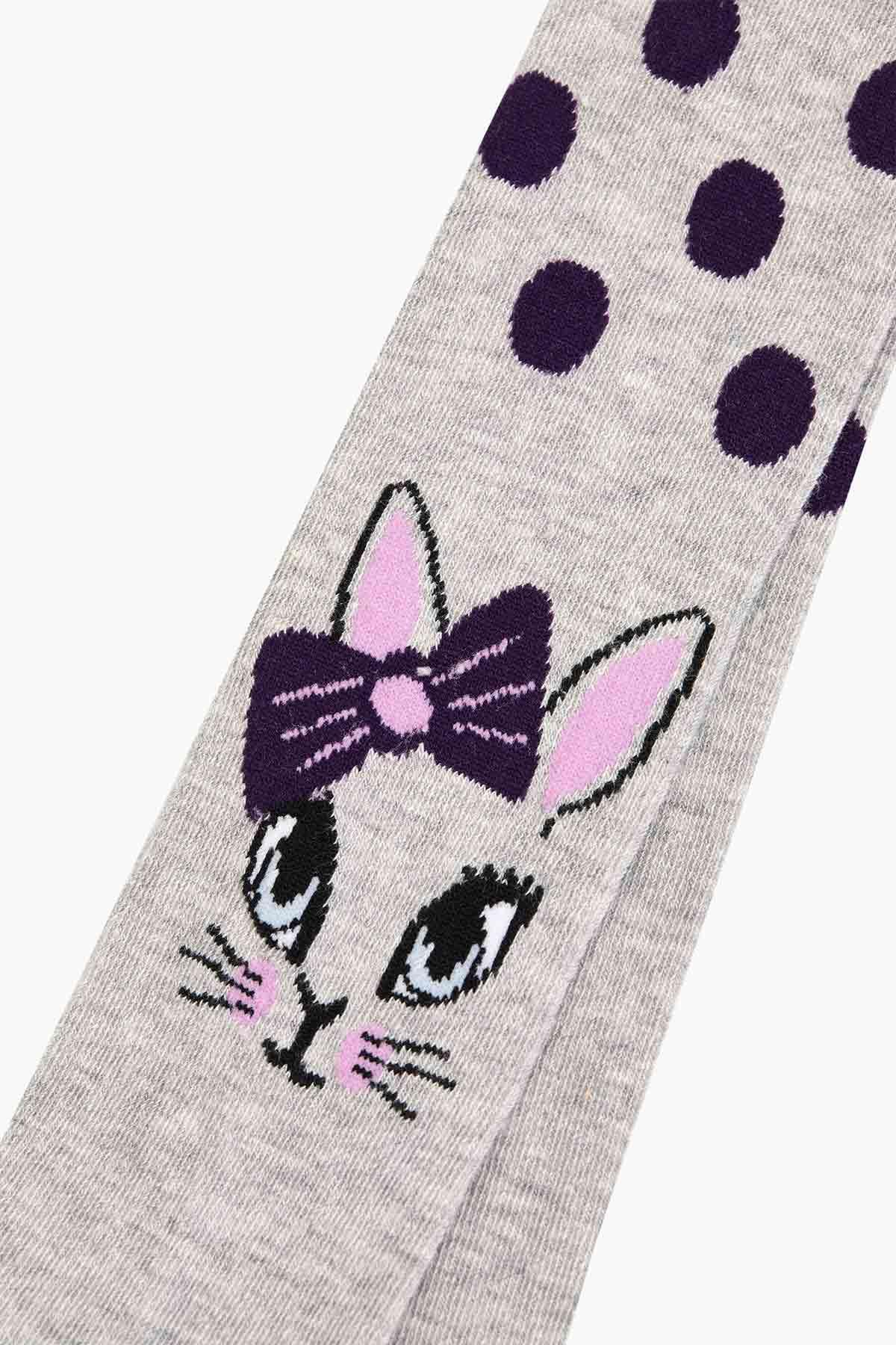 Puanlı Kedi Desenli Çocuk Külotlu Çorap - Thumbnail