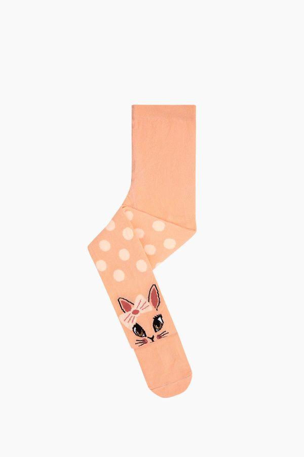 Bross Puanlı Kedi Desenli Çocuk Külotlu Çorap