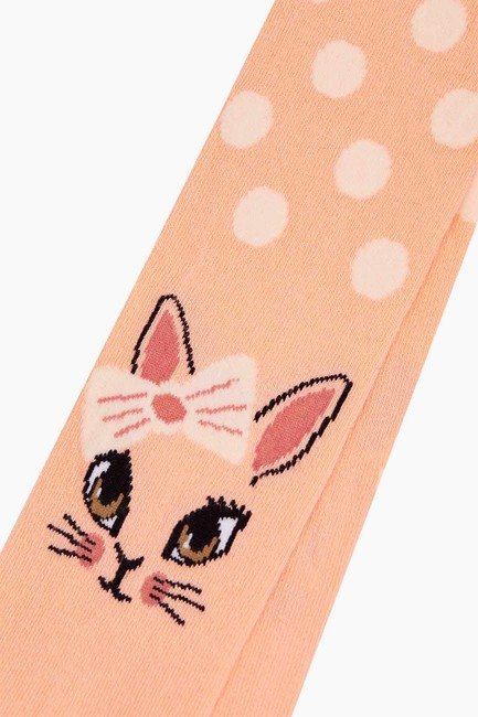 Bross Puanlı Kedi Desenli Çocuk Külotlu Çorap - Thumbnail