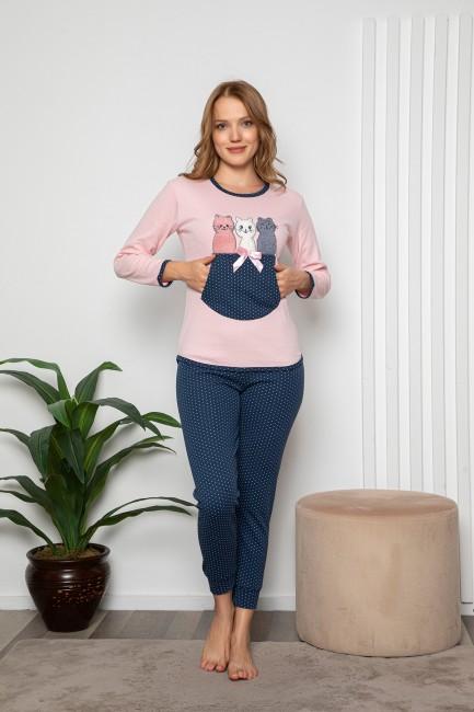 Bross - Puanlı Kedi Desenli Kadın Pijama Takımı