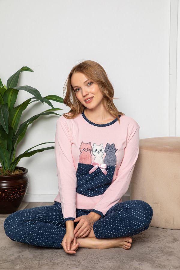 Puanlı Kedi Desenli Kadın Pijama Takımı