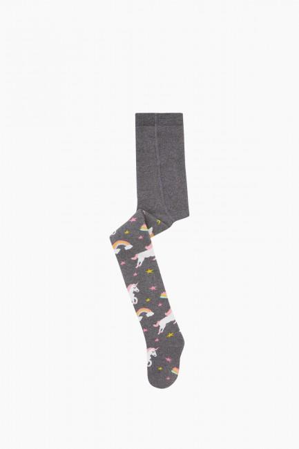 Bross - Bross Renkli Unıcorn Desenli Havlu Külotlu Çorap