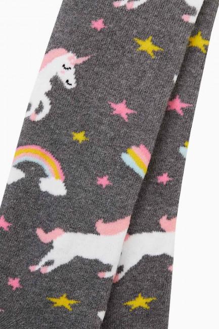 Bross Renkli Unıcorn Desenli Havlu Külotlu Çorap - Thumbnail