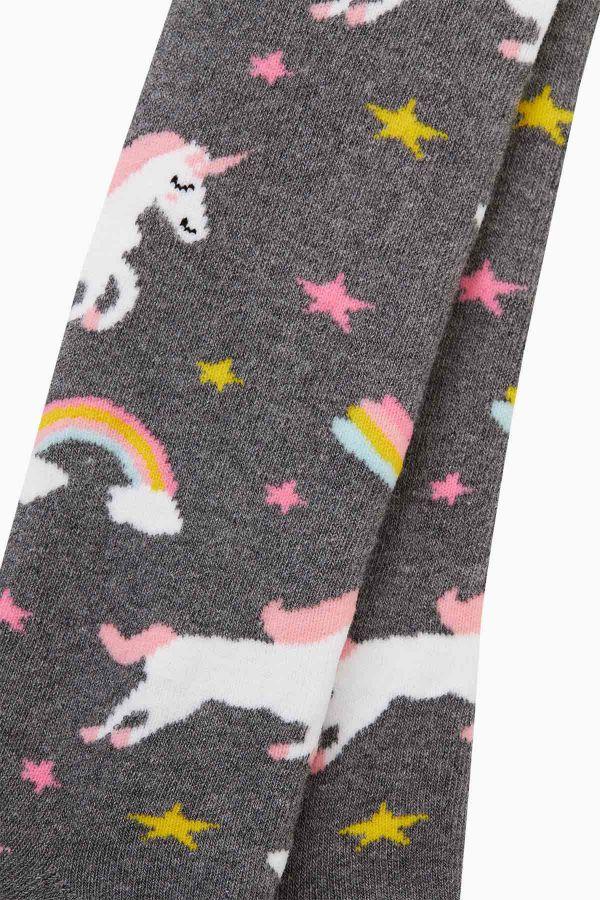 Bross Renkli Unıcorn Desenli Havlu Külotlu Çorap