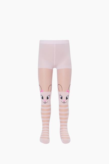 Ringed Rabbit Pattern Thin Kids tights - Thumbnail