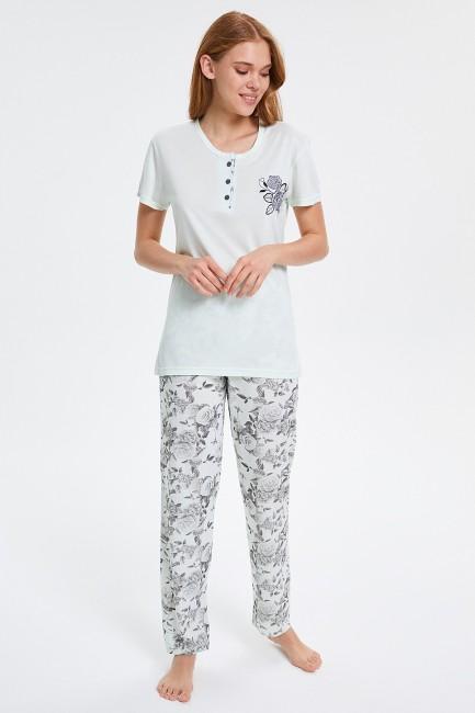 Bross - Rose Patterned Short Sleeved Women's Pyjama Set