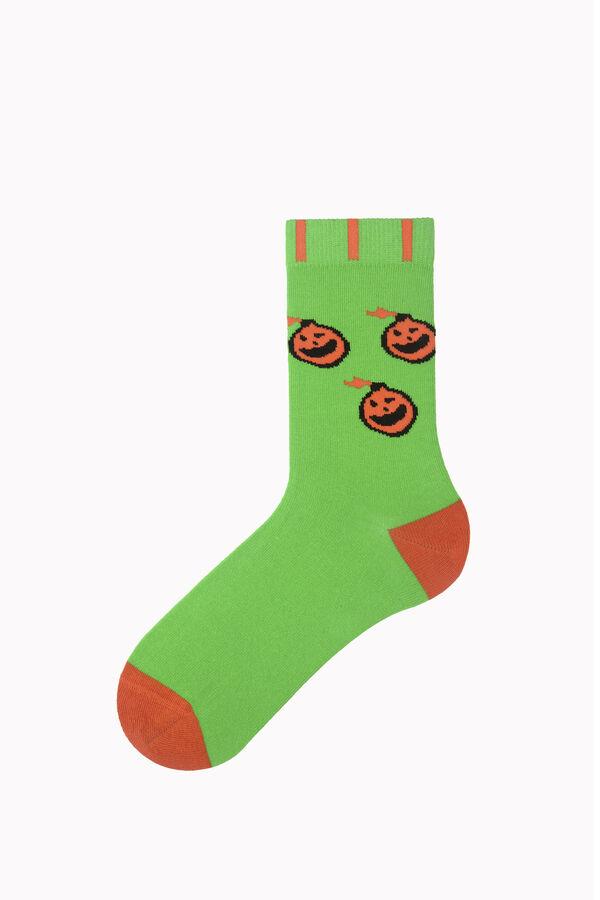 Bross Şemsiyeli Hayalet Desenli Halloween Çorabı