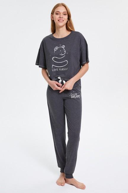 Sevimli Ayı Desenli Yarım Kollu Kadın Pijama Takımı - Thumbnail
