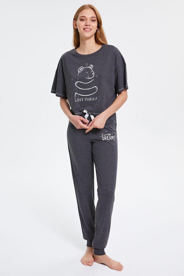 Sevimli Ayı Desenli Yarım Kollu Kadın Pijama Takımı