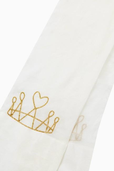 Silvery Crown Pattern Thin Kids Tights - Thumbnail