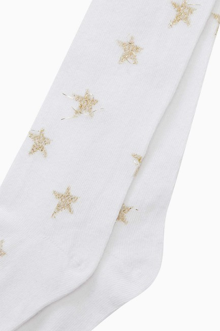Silvery Star Pattern Kids Tights - Thumbnail