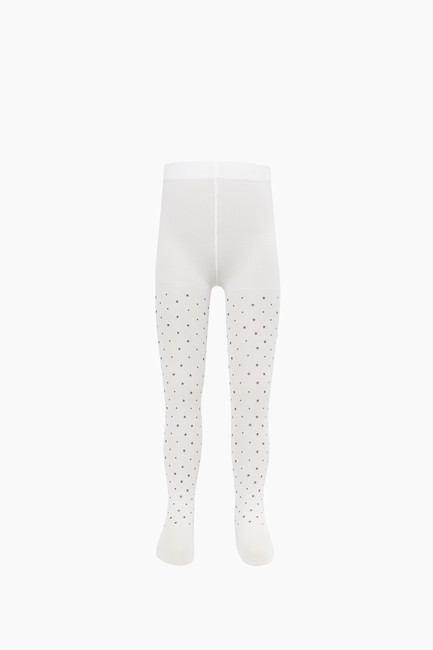 Silvery Star Pattern Thin Kids Tights - Thumbnail