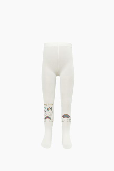 Silvery Unicorn Pattern Kids Thin Tights - Thumbnail