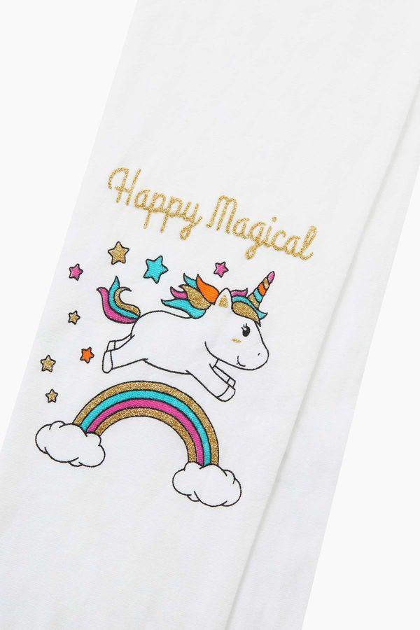 Silvery Unicorn Pattern Kids Thin Tights