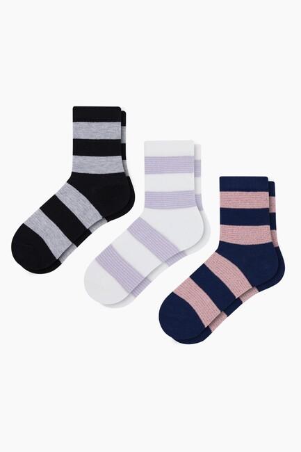 Bross - Simli Şerit Çizgili Çocuk Çorabı