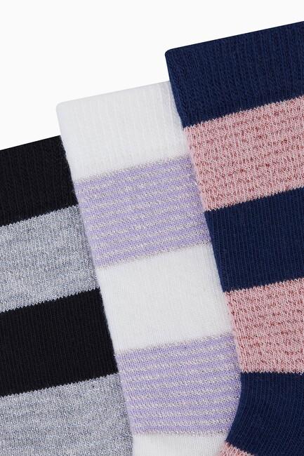 Simli Şerit Çizgili Çocuk Çorabı - Thumbnail