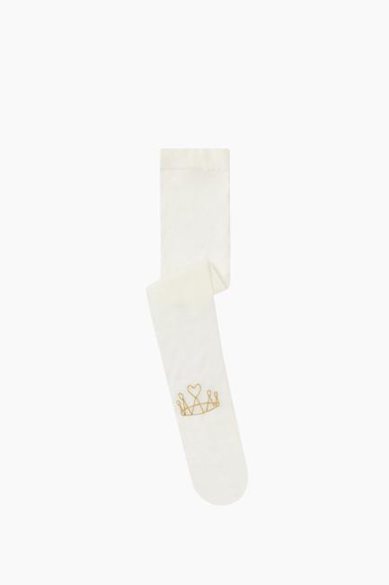 Bross - Simli Taç Desenli İnce Külotlu Çocuk Çorabı