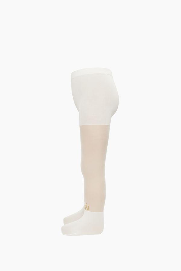 Simli Taç Desenli İnce Külotlu Çocuk Çorabı