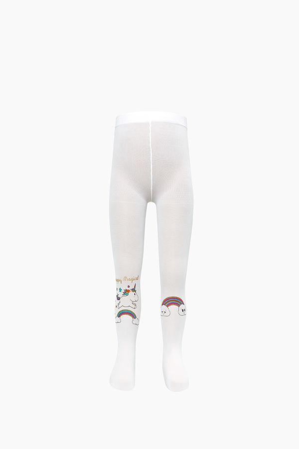 Simli Unıcorn Desenli İnce Külotlu Çocuk Çorabı