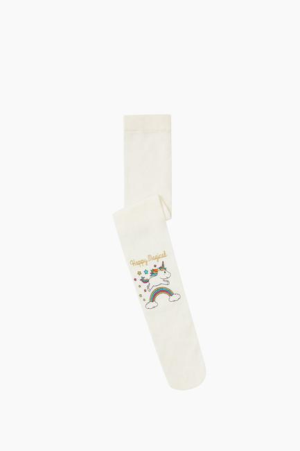 Simli Unıcorn Desenli İnce Külotlu Çocuk Çorabı - Thumbnail
