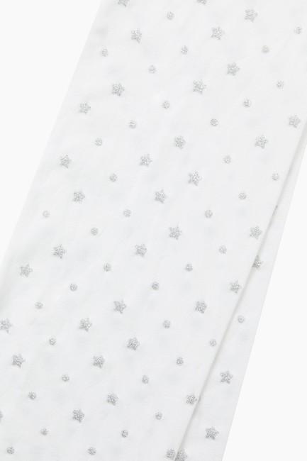 Simli Yıldız Desenli İnce Külotlu Çocuk Çorabı - Thumbnail