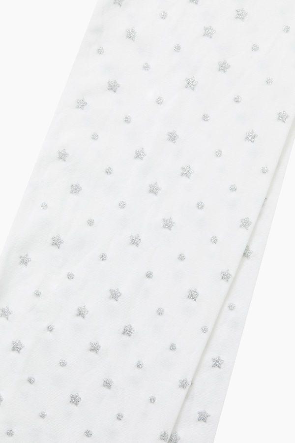 Simli Yıldız Desenli İnce Külotlu Çocuk Çorabı