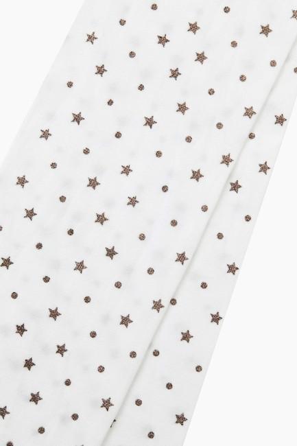 Bross Simli Yıldız Desenli İnce Külotlu Çocuk Çorabı - Thumbnail