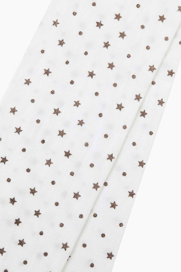 Bross Simli Yıldız Desenli İnce Külotlu Çocuk Çorabı