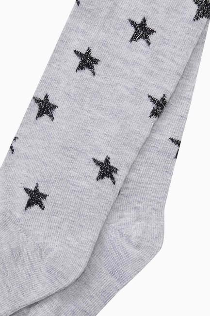 Simli Yıldız Desenli Külotlu Çocuk Çorabı - Thumbnail