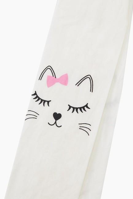 Sleeping Cat Pattern Thin Kids Tights - Thumbnail