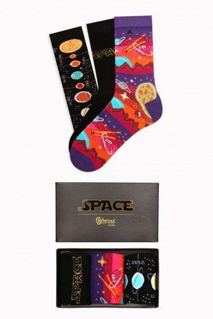 Bross - Space Collection Kutulu 3'lü Kadın Çorabı 1