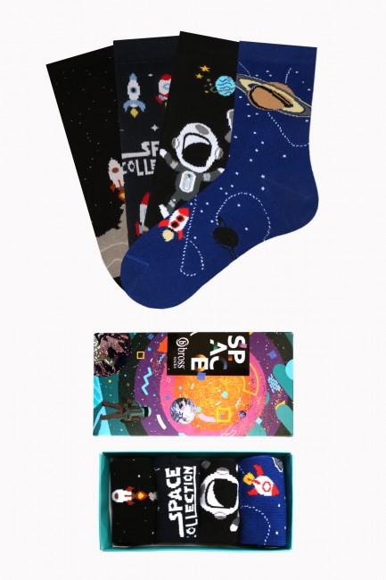 Bross - Space Collection Kutulu 4'lü Çocuk Çorabı 2