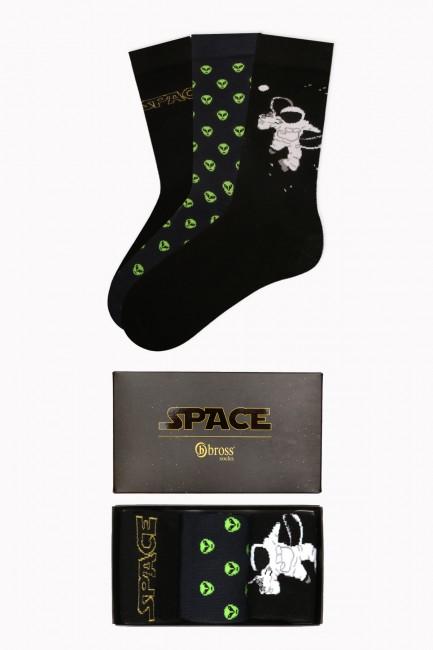 Bross - Space Collection Kutulu 3'lü Erkek Çorabı 1