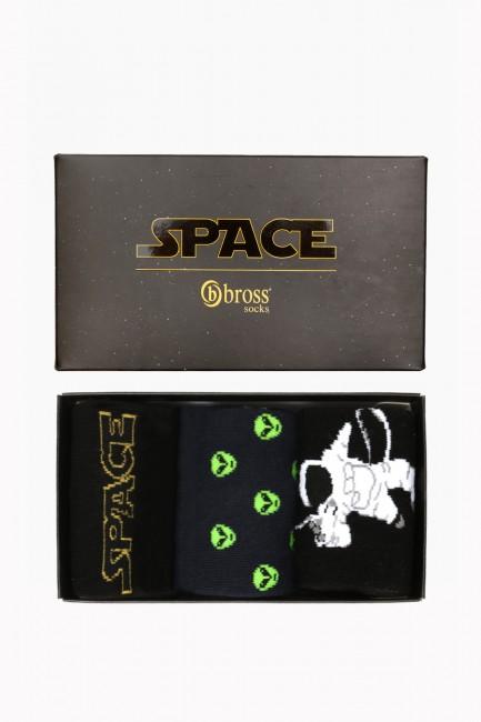 Space Collection Kutulu 3'lü Erkek Çorabı 1 - Thumbnail