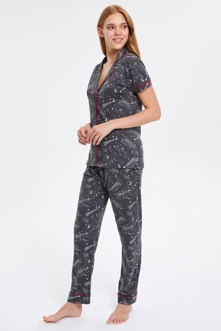 Space Desenli Kısa Kollu Düğmeli Kadın Pijama Takımı - Thumbnail