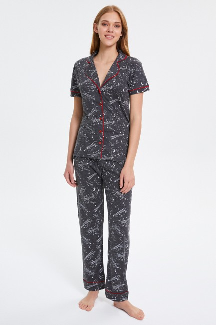 Bross - Space Patterned Long Sleeve Buttoned Women's Pajamas Set