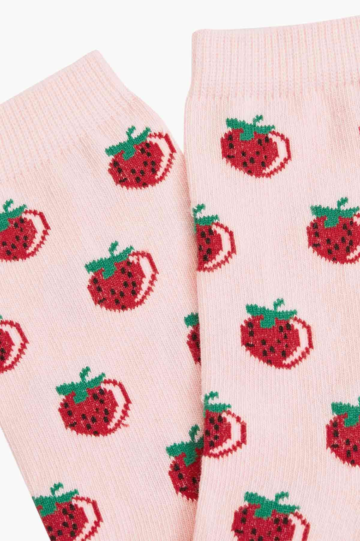 Strawyberry Pattern Ladies Socks - Thumbnail