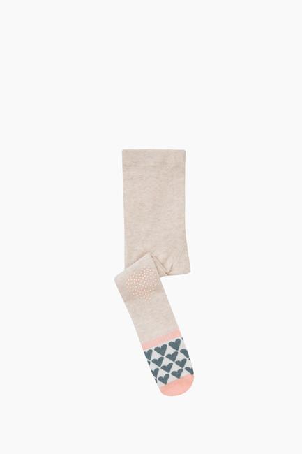 Bross - Tabanaltı Ve Dizi Kaydırmaz Kalp Baskılı Bebek Külotlu Çorap