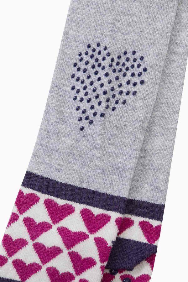 Tabanaltı Ve Dizi Kaydırmaz Kalp Baskılı Bebek Külotlu Çorap