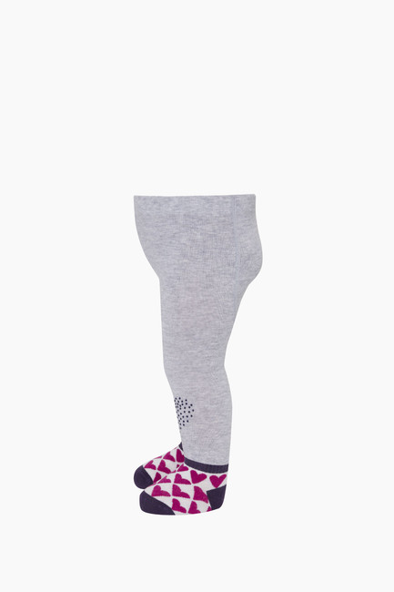 Tabanaltı Ve Dizi Kaydırmaz Kalp Baskılı Bebek Külotlu Çorap - Thumbnail