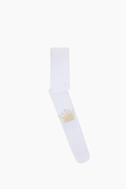Bross - Taç Baskılı İnce Külotlu Çocuk Çorabı Beyaz