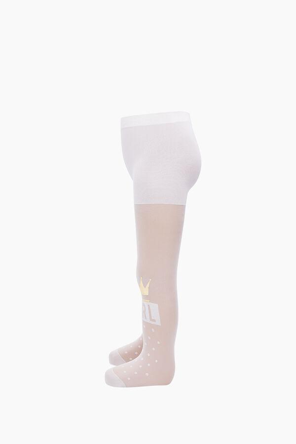 Taç Baskılı İnce Külotlu Çocuk Çorabı