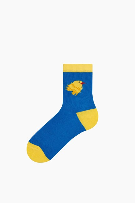 Bross - Taraftar Desenli Çocuk Çorabı Sarı