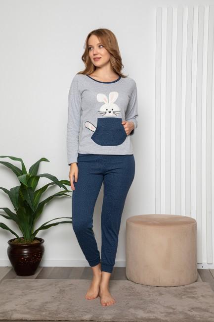 Bross - Tavşan Desenli Uzun Kollu Kadın Pijama Takımı