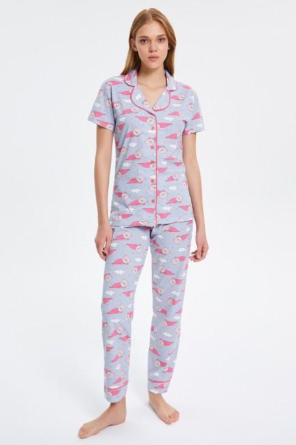 Bross - Teddy Bear Patterned Buttoned Short-Sleeved Women's Pyjama Set