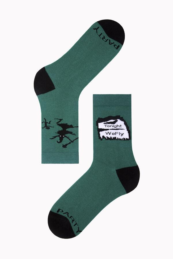 Bross Tonight We Fly Yazılı Halloween Çorabı